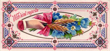 pink and blue Victorian calling card with hand holding flowers
