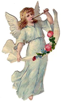 angel girl in white with flute