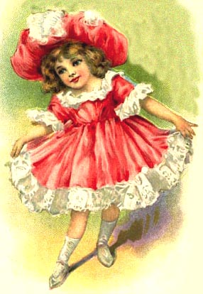 antique girl in red dress and hat