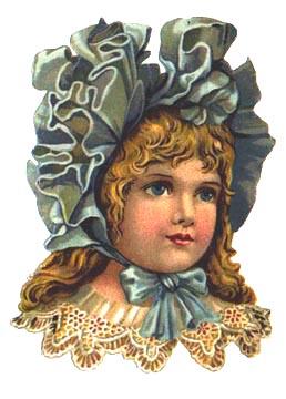 Victorian girl in blue bonnet