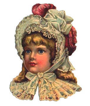 Victorian girl in bonnet with red feather