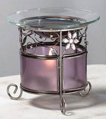 Purple Glass w/ Rhinestone Flowers Diffuser: C