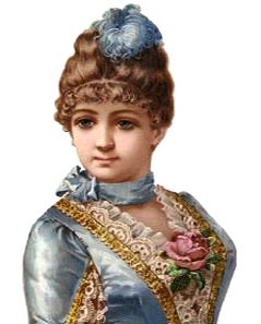 Victorian lady in light blue silk