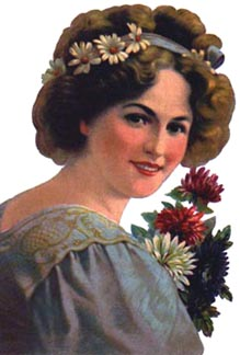 Victorian lady with flowers